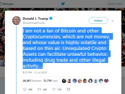 ve Bitcoin korkusu, Trump'ı twitretir :)